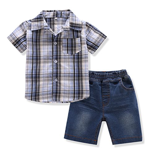 FERENYI Toddler Boy's Clothes Short Sleeved Plaid Woven Shirt With Denim Shorts Sets (4 years, Blue 2)