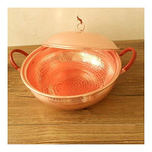 HAYQ Pure Copper Pot Stew Pot with Lid Thick Handmade Casserole Soup Pot (Color : 20cm Diameter)