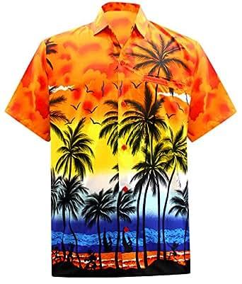 La Leela Aloha Hawaiian Tropical Beach Solid Plain Mens Casual Short Sleeves Button Down Tropical Shirts XS Orange