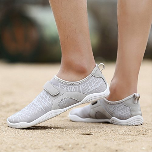 Fires Mens Summer Quick-Drying Water Shoes Beach Walking Sandals Slip-on Aqua Wading Slippers Large Size Grey bwpw4Y5o