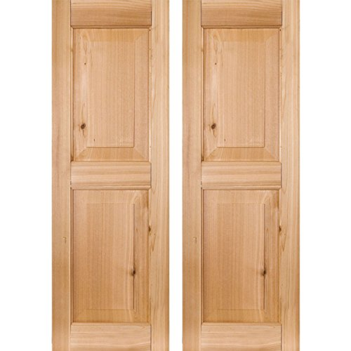 "RWR12X029UNP Exterior Real Wood Pine Raised Panel Shutters (Per Pair), Unfinished, 12""W x 29""H"