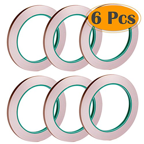 Kit Foil Copper - Selizo 6 Pack Copper Foil Tape with Conductive Adhesive for EMI Shielding, Slug Repellent, Paper Circuits, Electrical Repairs, Grounding