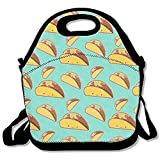 Starochi Smile Mexican Tacos Lunch Bag Tote Handbag Lunchbox Food Container Tote Cooler Warm Pouch for School Work Office