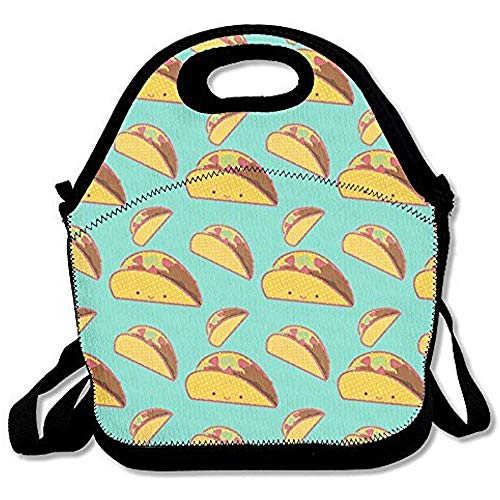 Starochi Smile Mexican Tacos Lunch Bag Tote Handbag Lunchbox Food Container Tote Cooler Warm Pouch for School Work Office by Starochi