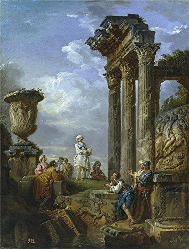 Oil Painting 'Panini Giovanni Paolo Ruinas Con Mujer Dirigiendo La Palabra A (Persona Foyer Light)