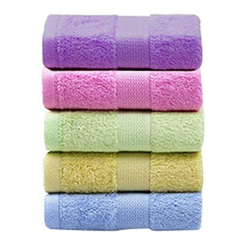 Moolecole 5-Pack Ultra Soft Bamboo Fiber Face Towel Set Absorbent Hand Towels Spa Bath Towels 13.5''x 30'' Bamboo Solid Towel Set