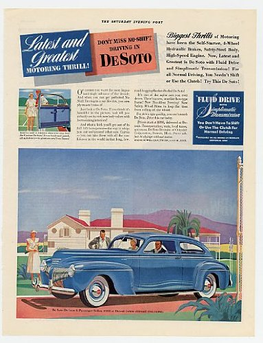 1941 De Soto De Luxe 6-Passenger Sedan Original Print Ad (7084)