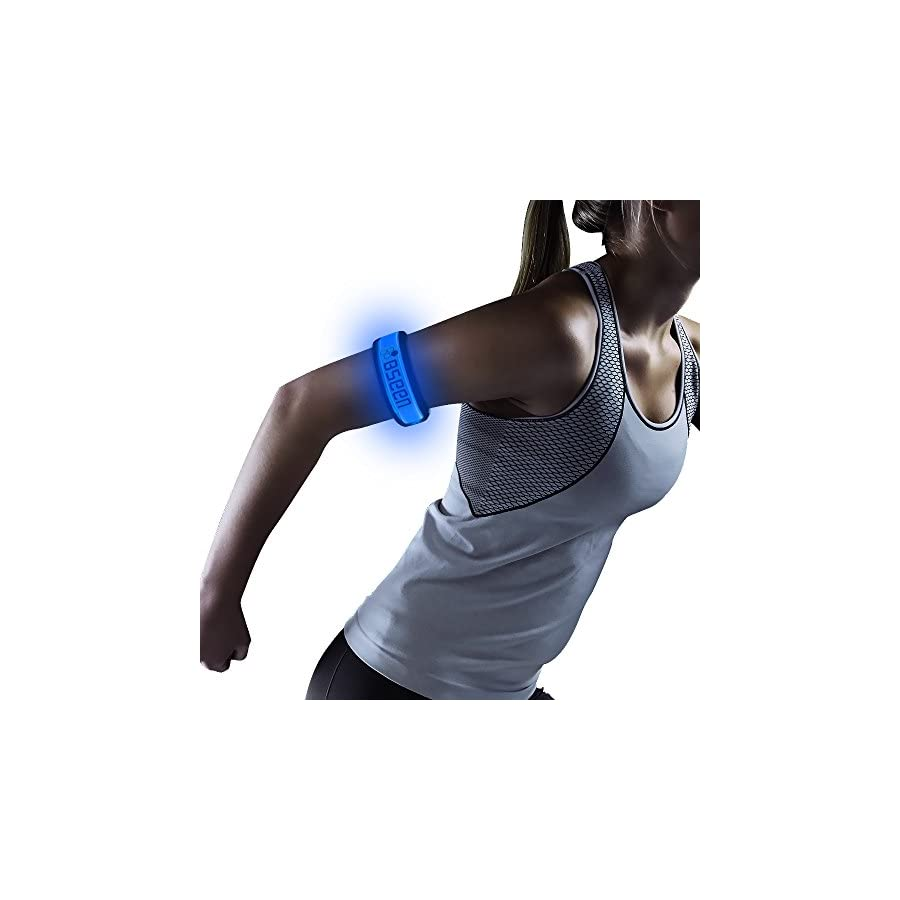 BSEEN 1 Pack for 2 PCS LED Armband, Running armabnd, led Bracelet Glow in The Dark Safety Running Gear.Use
