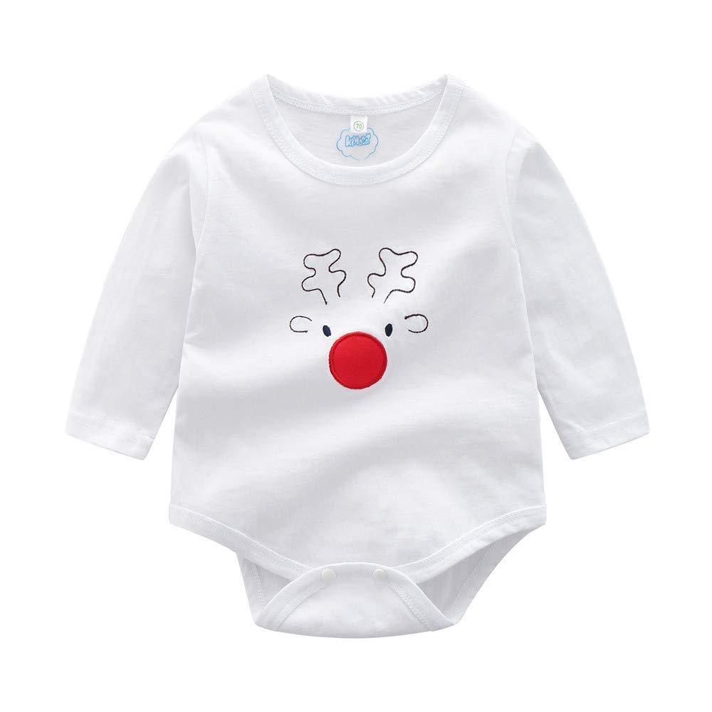 Pants Two Piece Set,Infant Baby Boys Girls Cartoon Christmas Xmas Deer Romper Pants Outfits Set MCYs Baby Long Sleeve Christmas Cartoon Elk Embroidered Romper
