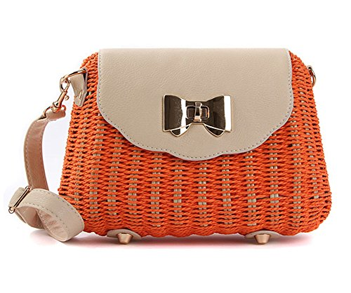 Straw Shoulder Lady's Orange Summer for Tonwhar Woven Retro Messenger Bag EH1qERnS