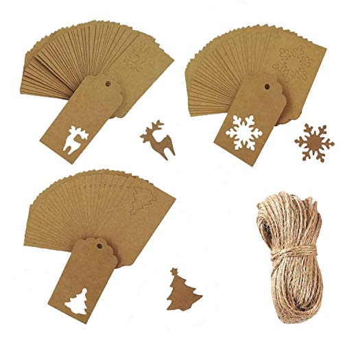 Prudance Gift Wrap Tags Christmas Tree Snowflake Reindeer Design Brown Rectangle Kraft Hang Tags 30 Meters Natural Jute Twine Christmas, Wedding Favor, Holiday Present, 150 Pieces