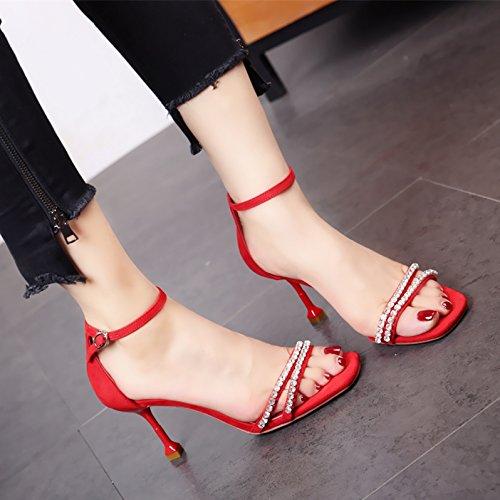 tacco alto di cave scarpe moda e YMFIE punta aperta signora black sandali stile alla praticare temperamento nuovo comoda Estate yzwqfz8F