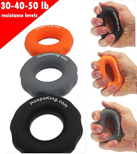 HoopsKing Rip N Grip Hand Strengtheners - Grip Builder - Get Better Wrist Snap On Your Shot, Throw Crisper Passes, Catch the Ball Easier, Increase Your Shooting Range - Easily Work All The Fingers O by HoopsKing