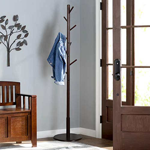 Vlush Sturdy Wooden Coat Rack Stand, Entryway Hall Tree Coat Tree with Solid Round Base for Hat,Clothes,Purse,Scarves,Handbags,Umbrella- 8 Hooks,Dark Brown