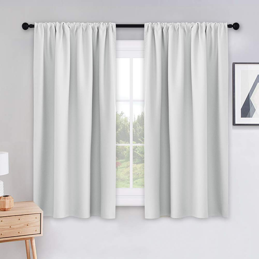 "PONY DANCE 54 inch Length Curtains - Room Darkening Kitchen Solid Thermal Draperies Rod Pocket Short Panels Drapes for Bedroom Window Treatments, 42"" W by 54"" L, Greyish White, Set of 2"