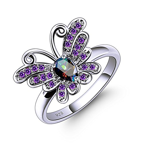 Psiroy 925 Sterling Silver Created Rainbow Topaz Filled Butterfly Ring for Teen Girls Size 8