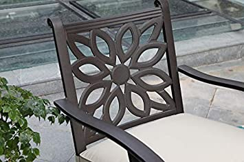 PHI VILLA Cast Aluminum Extra Wide Rocker Swivel Chairs Outdoor Patio Bistro Dining Chair with Cushion Set of 2 – Frosted Surface