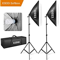 ESDDI 20'X28' Softbox Photography Lighting Kit 800W Continuous Lighting System Photo Studio Equipment Photo Model Portraits Shooting Box 2pcs E27 Video Lighting Bulb