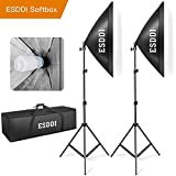 ESDDI 20''X28'' Softbox Photography Lighting Kit 800W Continuous Lighting System Photo Studio Equipment Photo Model Portraits Shooting Box 2pcs E27 Video Lighting Bulb