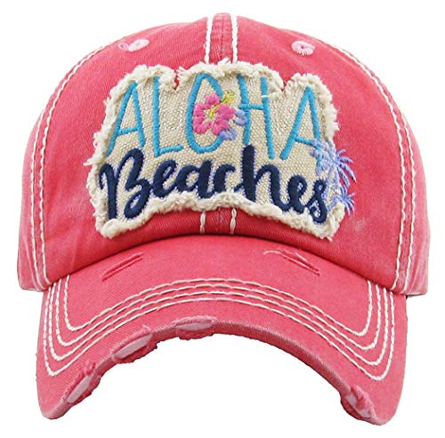 (H-212-AB52 Distressed Baseball Cap Vintage Dad Hat - Aloha Beaches (Coral))