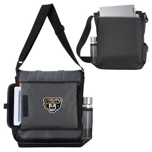 Oakland University Impact Vertical Black Computer Messenger Bag 'Grizzly Head' by CollegeFanGear