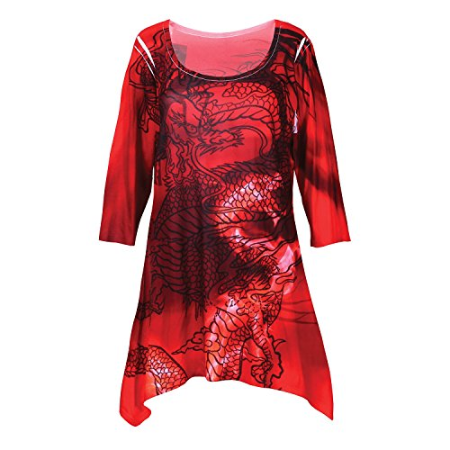 Women's Tunic Top - Red Dragon Print 3/4 Sleeves Sharkbite Hem - ()
