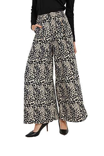 Tronjori Women High Waist Casual Wide Leg Long Palazzo Pants Trousers(XL, Leopard Print)