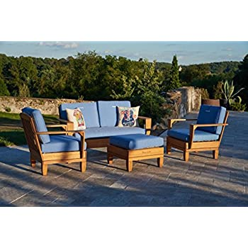 Delightful 4pc Jimmy Buffet Margaritaville Patio Furniture Conversation Set   Blue