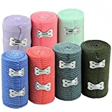 Colored Elastic Support Bandage Wraps with Metal Clasps, 7-ct Set