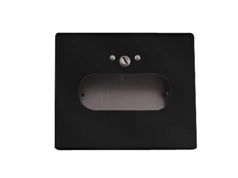 S.A.C IC1500BBK Powder Coated Steel Sanitary Napkin Disposal Box Bag Dispenser with Lock, 6-1/4'' Length x 5-1/2'' Width x 1-1/2'' Height, Black