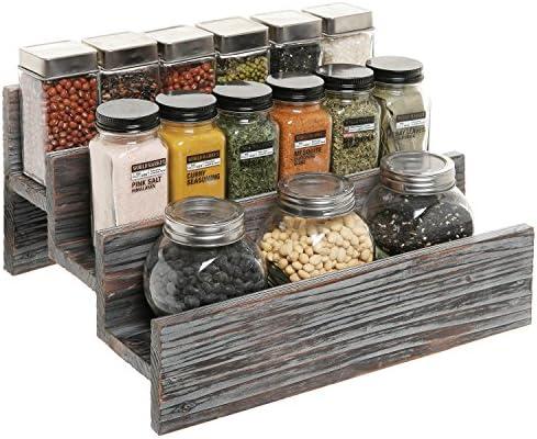 Rustic Style 3 Tier Stair Step Design Distressed Wood Spice Rack Jar Storage Organizer Shelf – MyGift