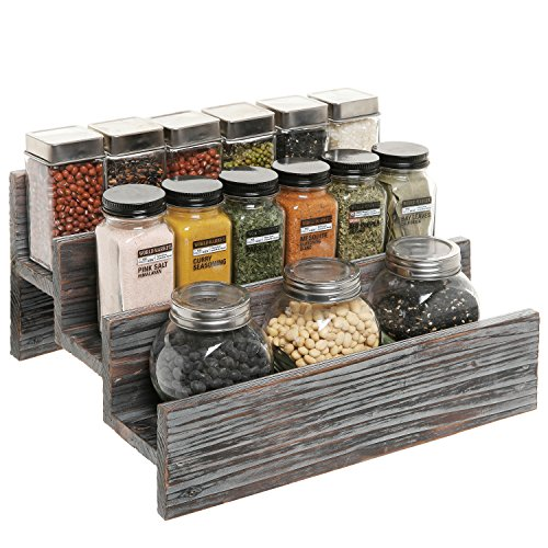 - Rustic Style 3 Tier Stair Step Design Distressed Wood Spice Rack Jar Storage Organizer Shelf - MyGift