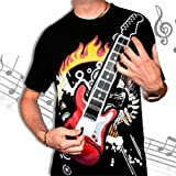A-HE Black Unisex Playable Rock Electronic Electric Guitar T-Shirt With Amplifier Amp (M, guitar)