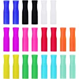 22Pcs Reusable Straws Tips, Silicone Straw Tips, Multi-color Food Grade Straws Tips Covers Only Fit for 1/4 Inch Wide…