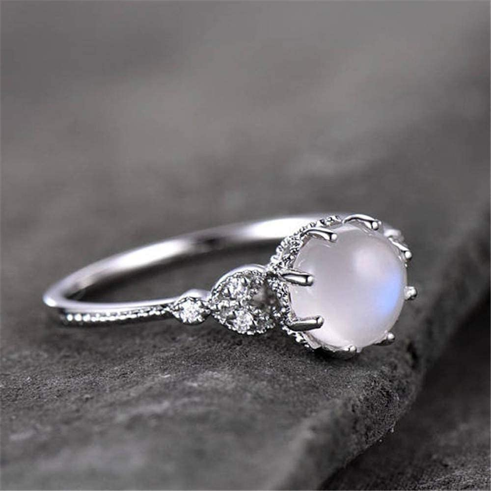 Kiyotoo Opal Jewelry Beautiful Fashion Women Natural Moonstone 925 Sterling Silver Victorian Style Solitaire Ring Wedding Jewelry