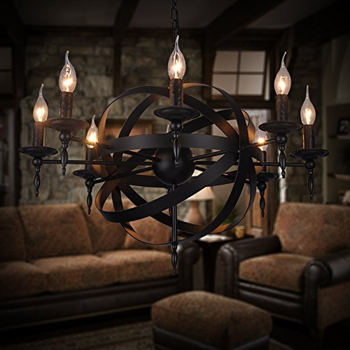 WYMBS Creative furniture decoration pendant light Earth wrought iron candle chandelier , 8 head