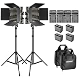 Neewer 2-Pack Dimmable Bi-color 660 LED Video Light with Barndoor and 6.5 feet Light Stand, 4-Pack Rechargeable 6600mAh Li-ion Battery and Charger Lighting Kit for Photo Studio YouTube Video Shooting