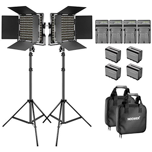 Neewer 2-Pack Dimmable Bi-color 660 LED Video Light with Barndoor and 6.5 feet Light Stand, 4-Pack Rechargeable 6600mAh Li-ion Battery and Charger Lighting Kit for Photo Studio YouTube Video Shooting by Neewer