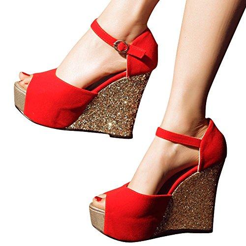 Femmes Mee Sandales Poisson Boucle Chic Compensé Cheville Bride Bouche Chaussures Rouge Talon 4qwfY4Fx