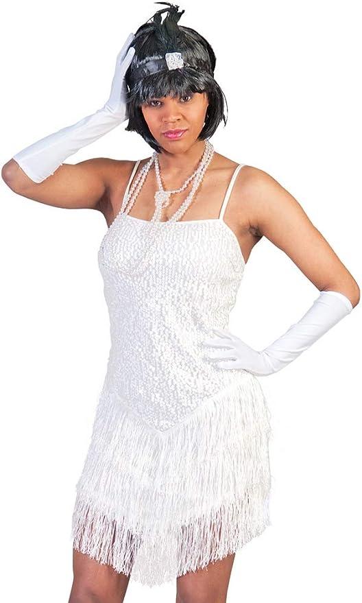 Disfraz charlestón blanco mujer - Única: Amazon.es: Juguetes y juegos