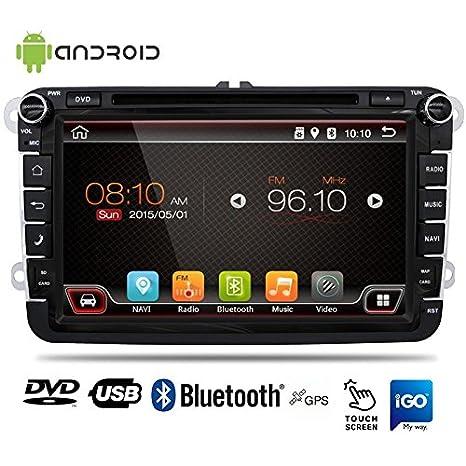 Radio automática para coche, Android, 8 pulgadas, con CD, DVD, USB, SD, BPS y Bluetooth, pantalla táctil, para Volkswagen/Skoda: Amazon.es: Electrónica