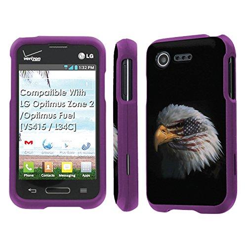 LG Optimus Zone 2 / Optimus Fuel [VS415 / L34C] Case, [NakedShield] [Purple] Total Armor Protection Case - [American Eagle] for LG Optimus Zone 2 / Optimus Fuel [VS415 / L34C]