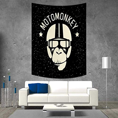 smallbeefly Outer Space Vertical Version Tapestry Sign Alien Monkey with Astronaut Costume in a Galaxy with Stars Poster Throw, Bed, Tapestry, or Yoga Blanket 70W x 84L INCH Black and White