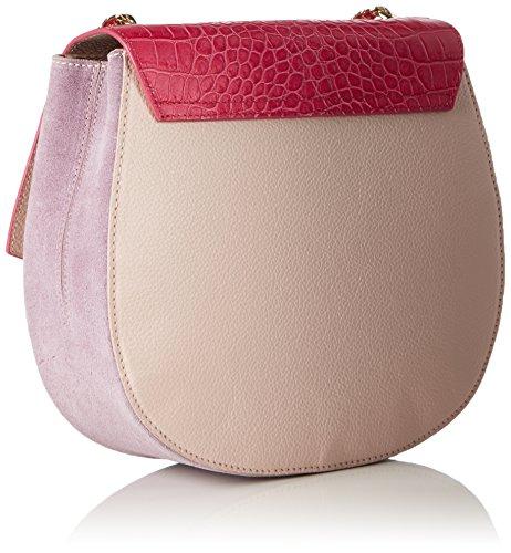 Laurèl Damen Tasche Schultertasche, Mehrfarbig (Pink/Sand), 9x20,5x22,5 cm