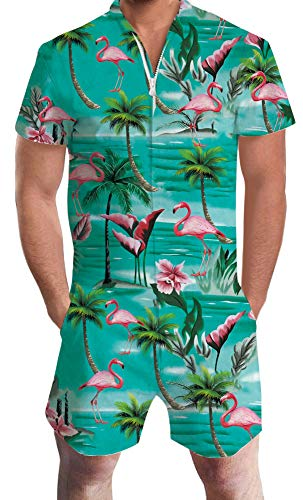 - Vintage Romper Sets for Guys Men Youth Boys Shorts Jumpsuits Red Flamingo Blue Green Coconut Palm Tree Pink Floral Flower Solid V Neck Zip Up Baggy Tropical Hawaiian Clothing for 60 70s 80 90s Male