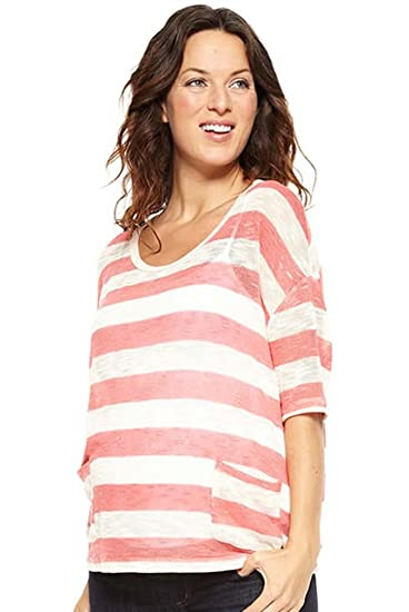 9190622ee7 NOM Hope Lightweight Summer Maternity Sweater - Coral - X-Small at Amazon  Women s Clothing store