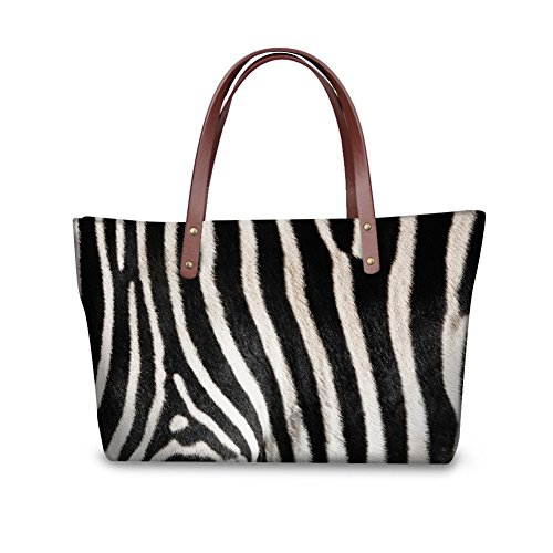 Zebra Print Satchel Handbag (Mumeson Zebra Print Trendy Womens Top Handle Satchel Handbags Designer Tote Purse Shoulder Bag)