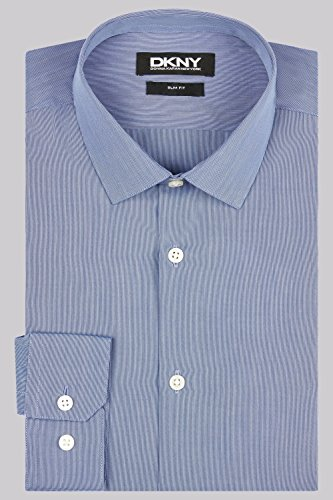 DKNY Slim Fit Marineblau Knopfmanschette Streifen Hemd
