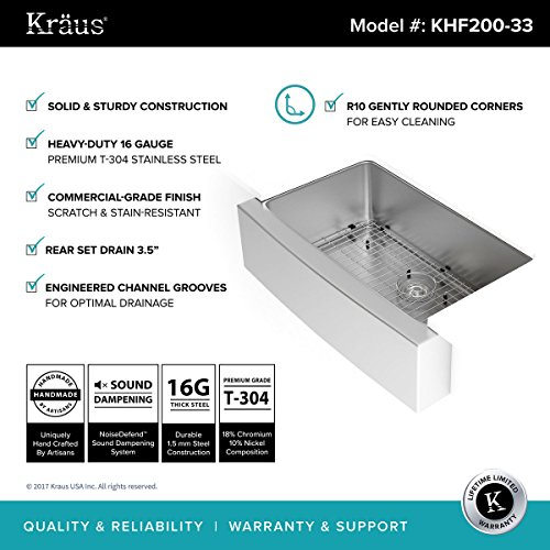 Kraus KHF200-33 33-inch Apron Single Stainless