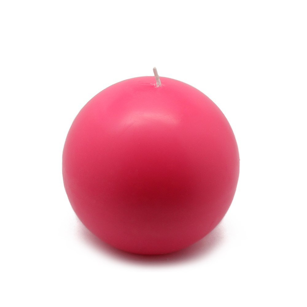 Zest Candle CBZ-027_6 12-Piece Ball Candle, 4'', Hot Pink